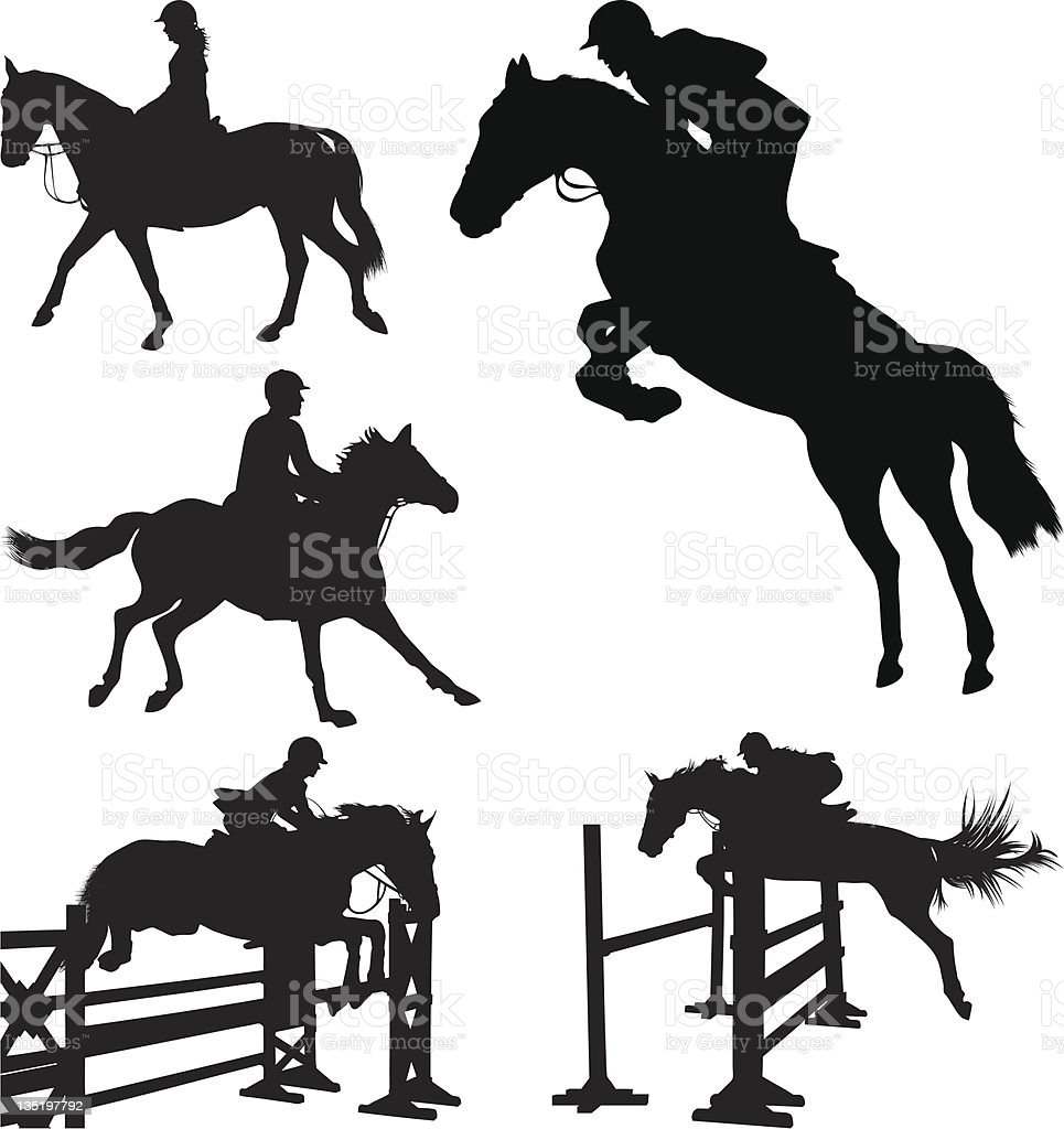 Silhouettes of horse and rider performing equestrian sports vector art illustration