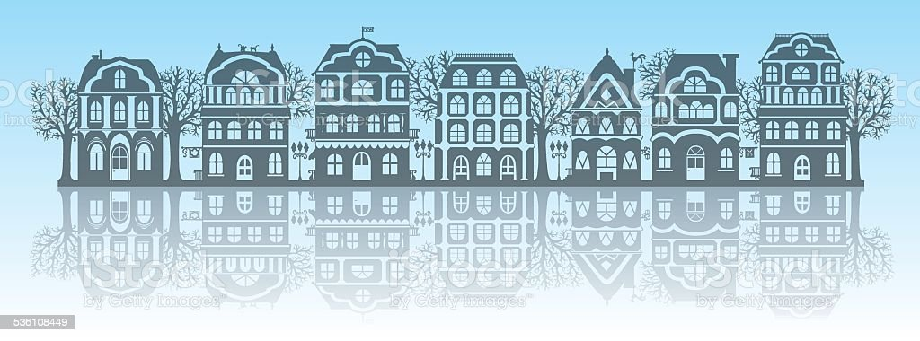 Silhouettes of houses vector art illustration