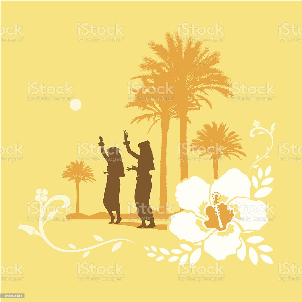Silhouettes of Hula girls dancing at a tropical setting royalty-free stock vector art