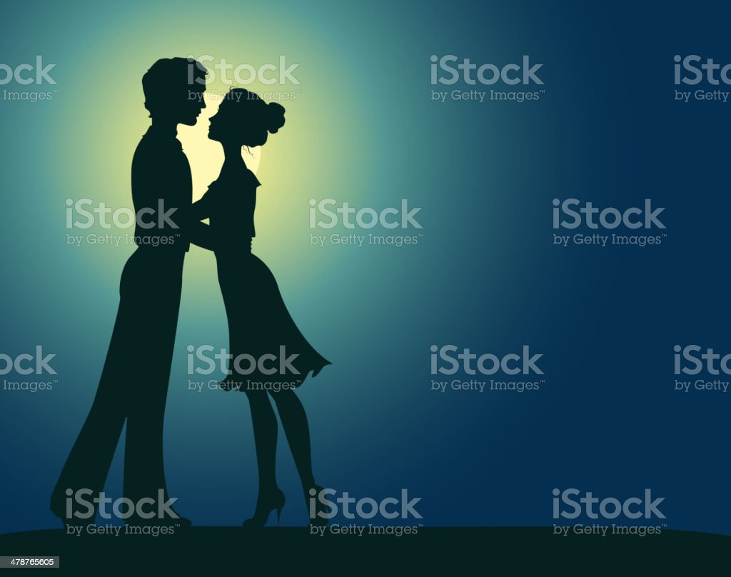 Silhouettes of man and woman vector art illustration