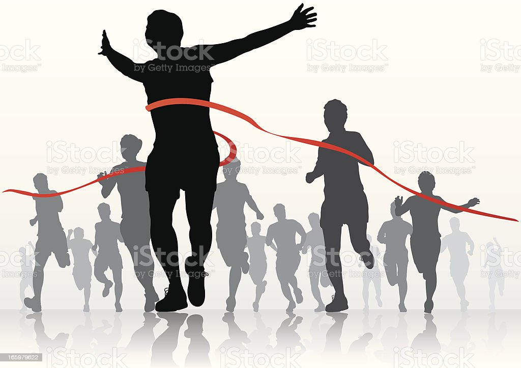 Silhouettes of marathon runners at the finish line royalty-free stock vector art