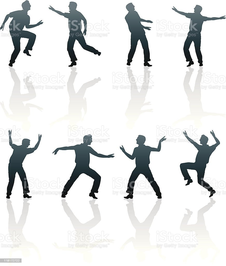 silhouettes of men in different positions royalty-free stock vector art