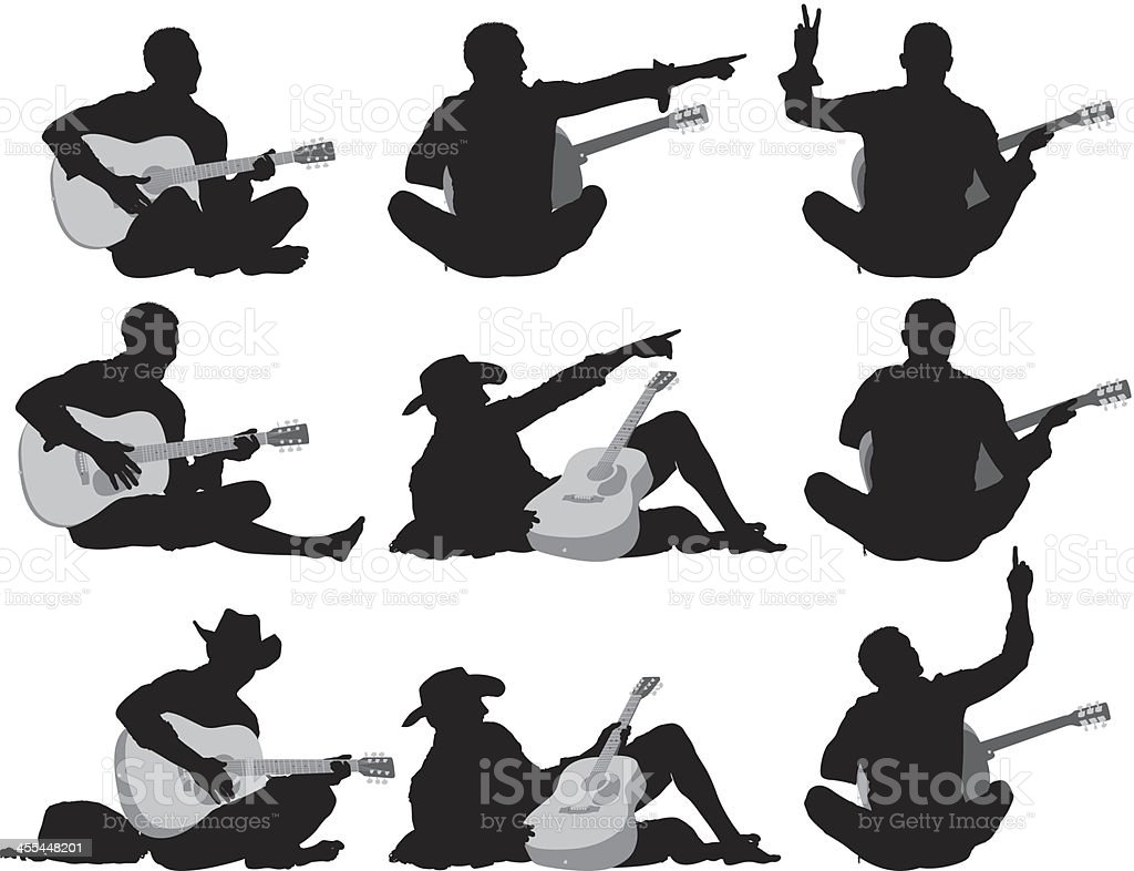 Silhouettes of men playing guitar royalty-free stock vector art