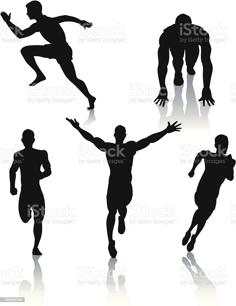 Silhouettes of men sprinting royalty-free stock vector art