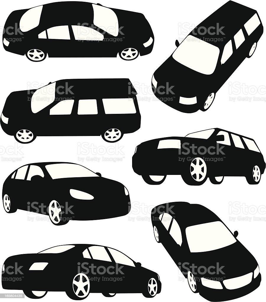 Silhouettes of modern cars vector art illustration