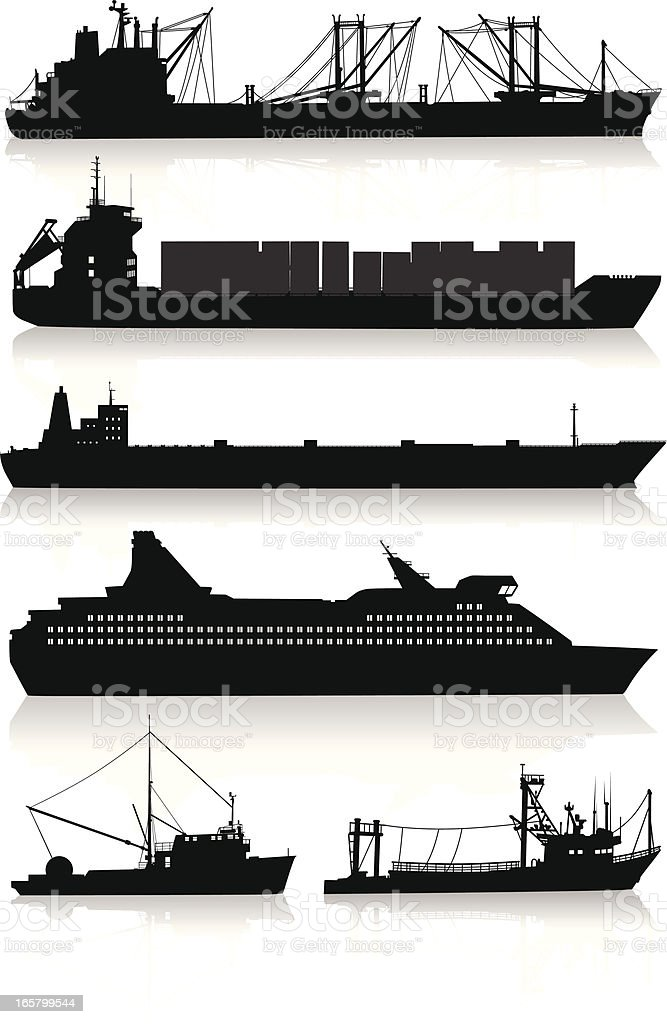 Silhouettes of modern vessels and fishing boats vector art illustration