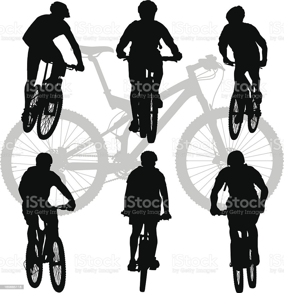 Silhouettes of Mountain Bikers royalty-free stock vector art