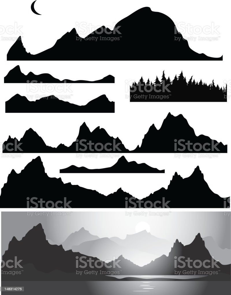 Silhouettes of mountains vector art illustration