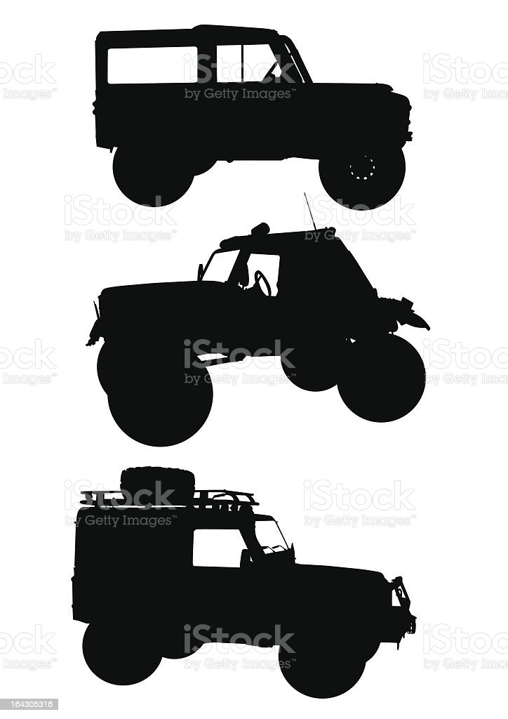 Silhouettes of off-roading vehicles vector art illustration