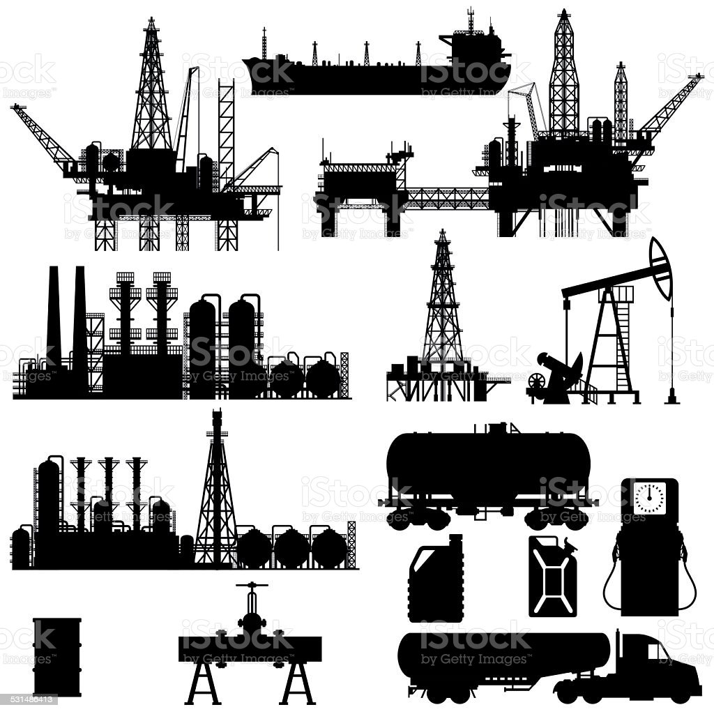 Silhouettes of Oil Industry vector art illustration