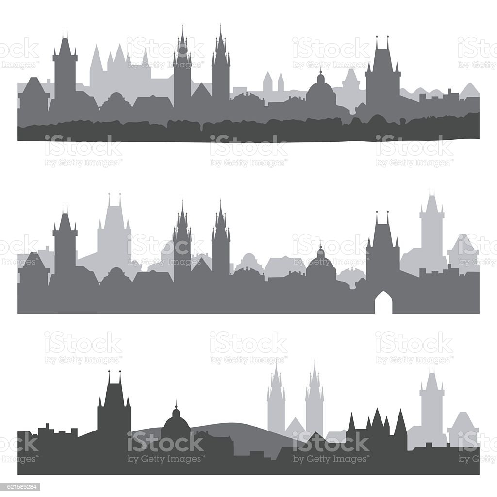Silhouettes of old town of Prague vector art illustration