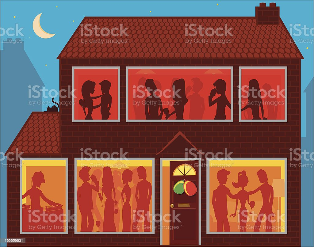 Silhouettes of party seen through house windows vector art illustration