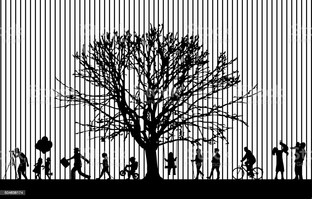 Silhouettes of people active. vector art illustration