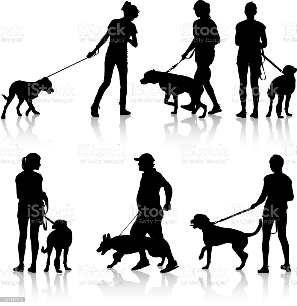 Silhouettes of people and dogs. vector art illustration