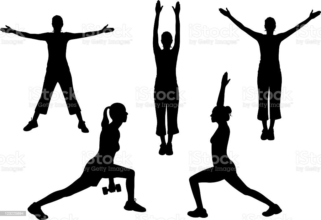 Silhouettes of people exercising royalty-free stock vector art