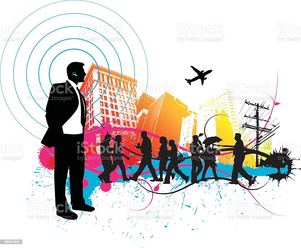 Silhouettes of people in a urban city royalty-free stock vector art