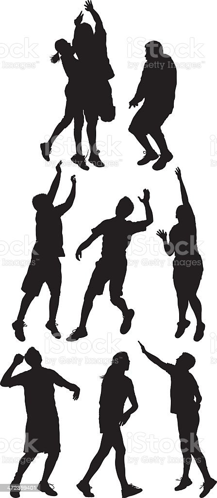 Silhouettes of people in action royalty-free stock vector art