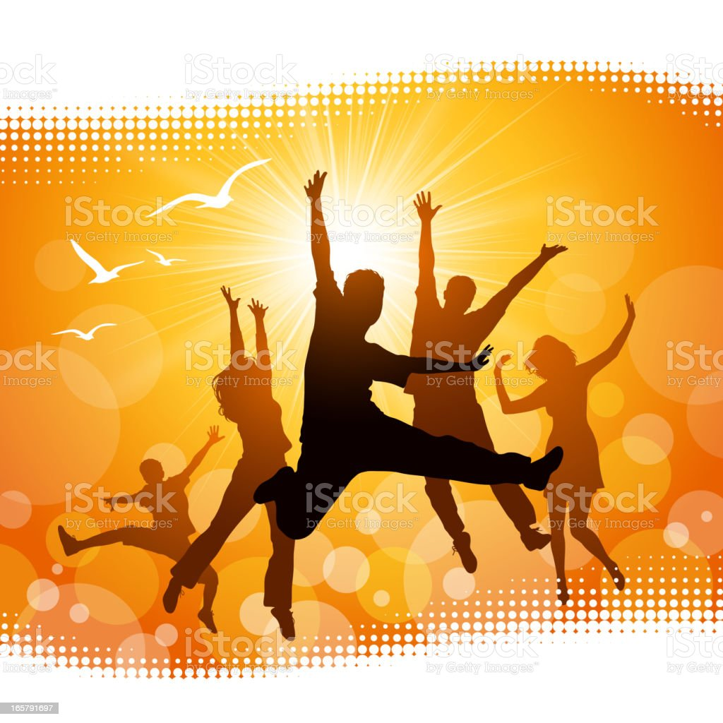 Silhouettes of people jumping with yellow background royalty-free stock vector art
