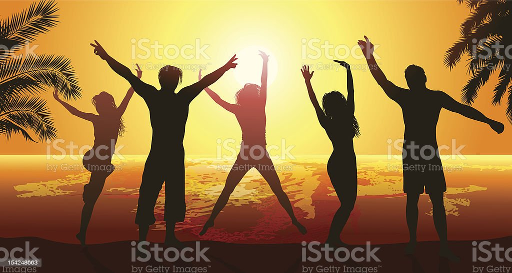 Silhouettes of people leaping in the air at sunset vector art illustration