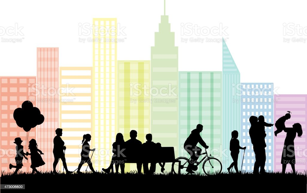 Silhouettes of people on the outside vector art illustration