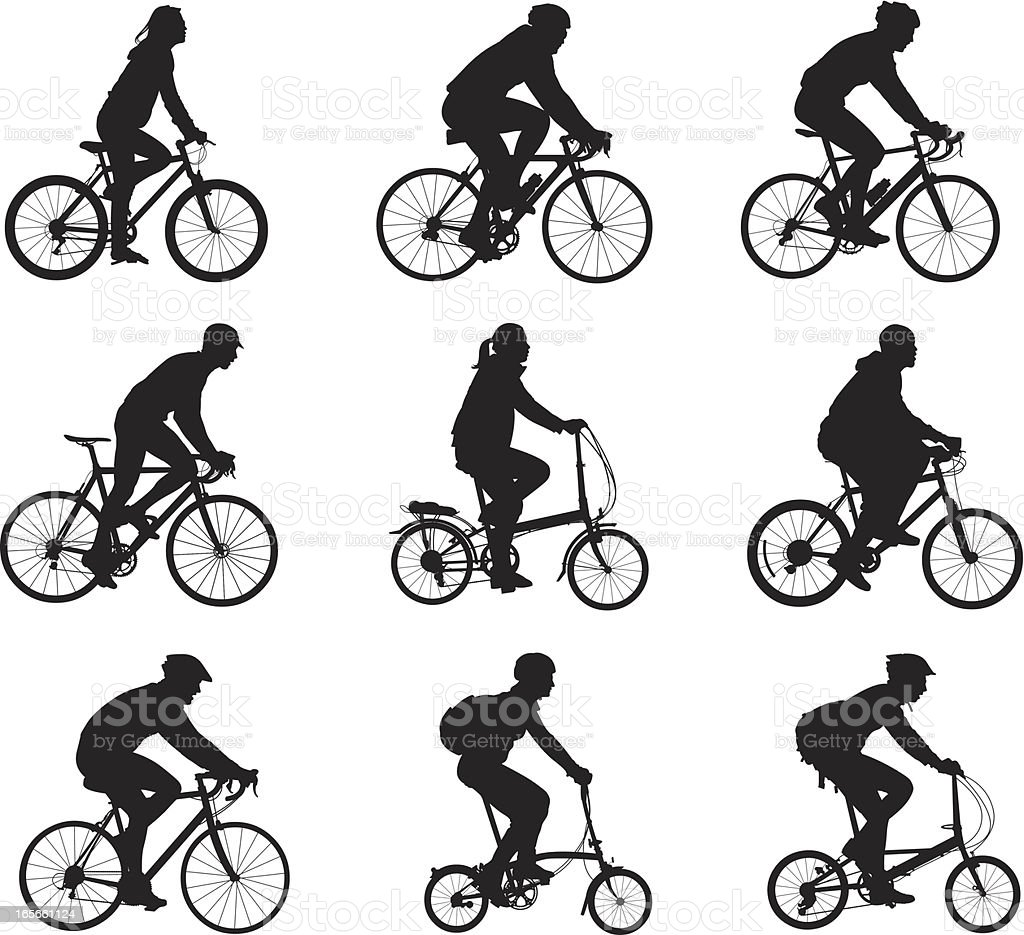 Silhouettes Of People Riding Bicycles stock vector art ...