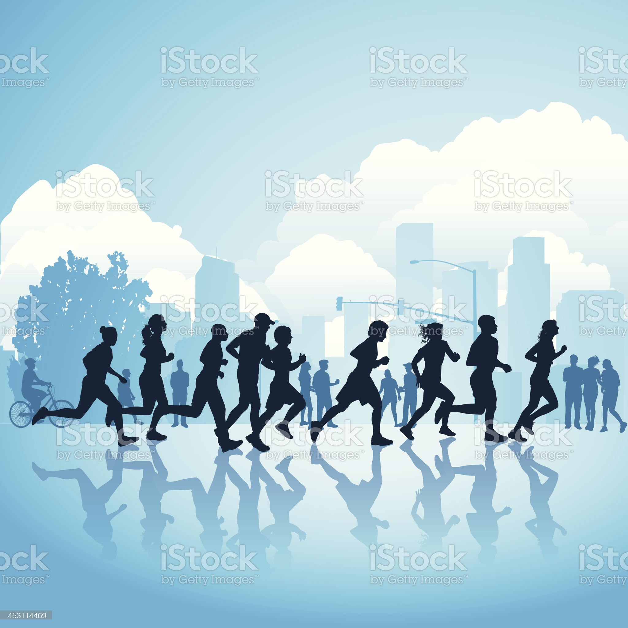 Silhouettes of people running through the city royalty-free stock vector art