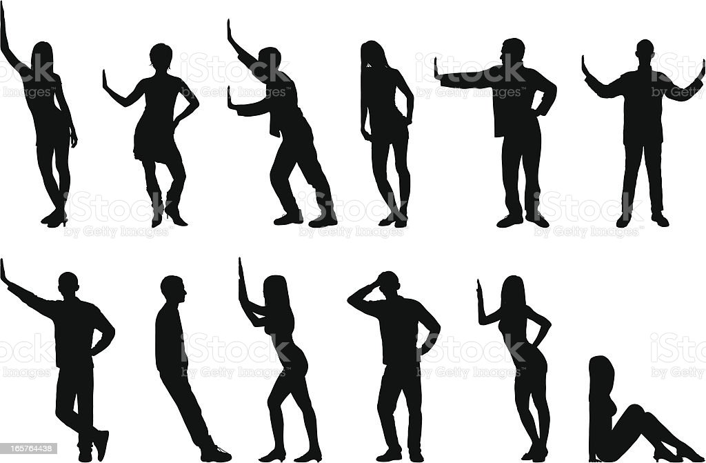 Silhouettes of People vector art illustration