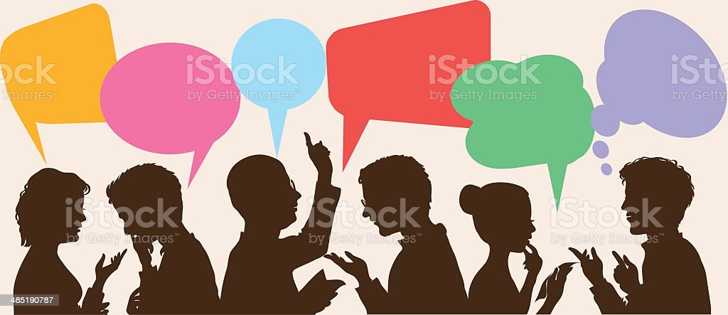 Silhouettes of people with colorful speech bubbles vector art illustration