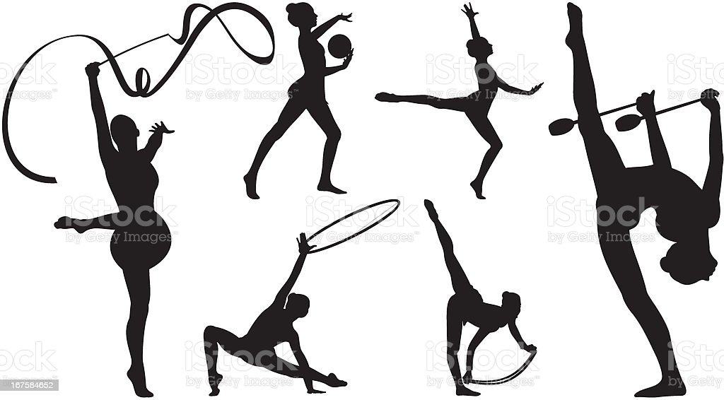 Silhouettes of rhythmic gymnastics vector art illustration