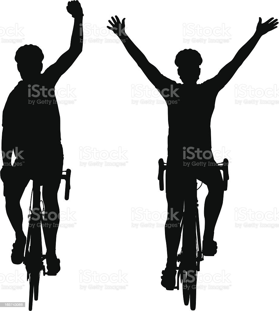 Silhouettes of road bike cyclists winning the race vector art illustration