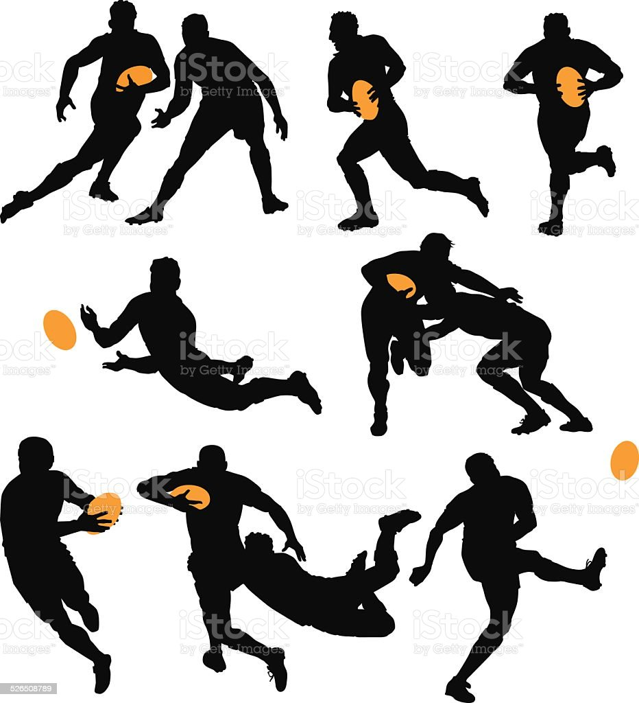 Silhouettes of Rugby Players Playing the Game vector art illustration