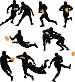 Silhouettes of Rugby Players Playing the Game