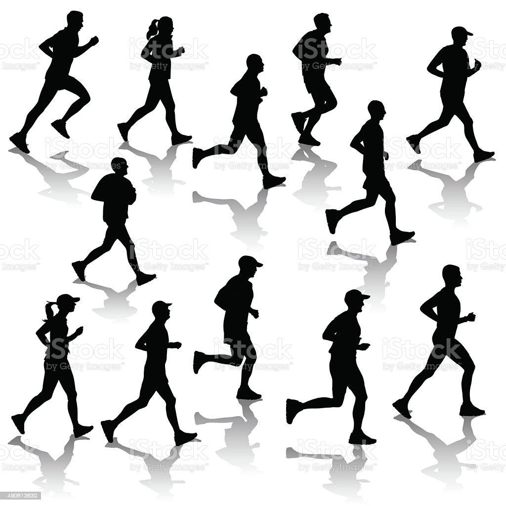 Silhouettes of running people vector art illustration
