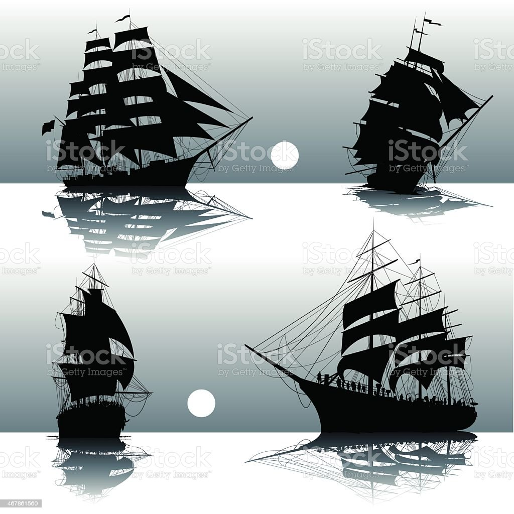 Silhouettes of sailing ships vector art illustration