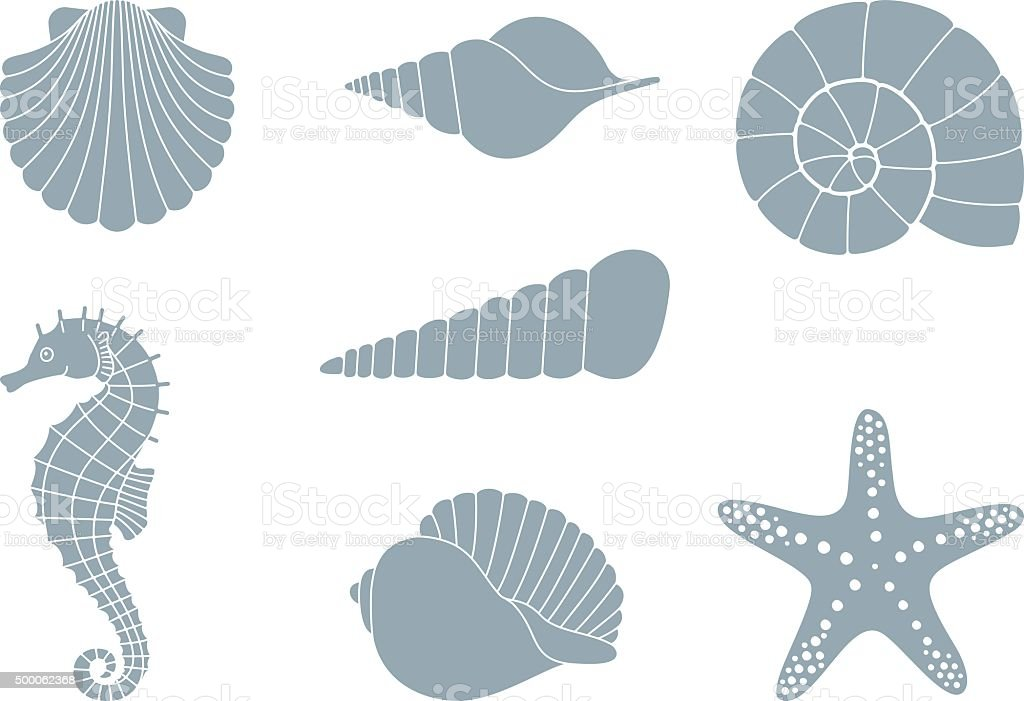 Silhouettes of sea inhabitants vector art illustration