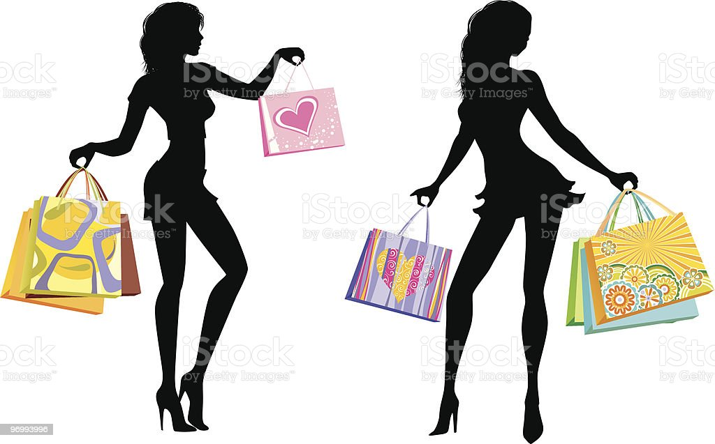 Silhouettes of shopping girls 1 royalty-free stock vector art