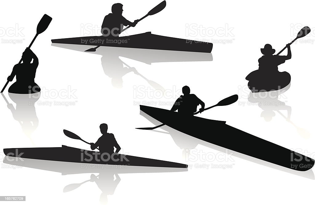 Silhouettes of single kayakers kayaking vector art illustration