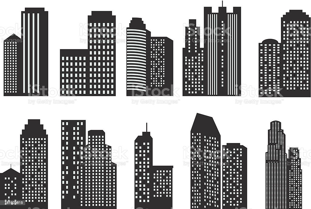 Silhouettes of skyscrapers royalty-free stock vector art
