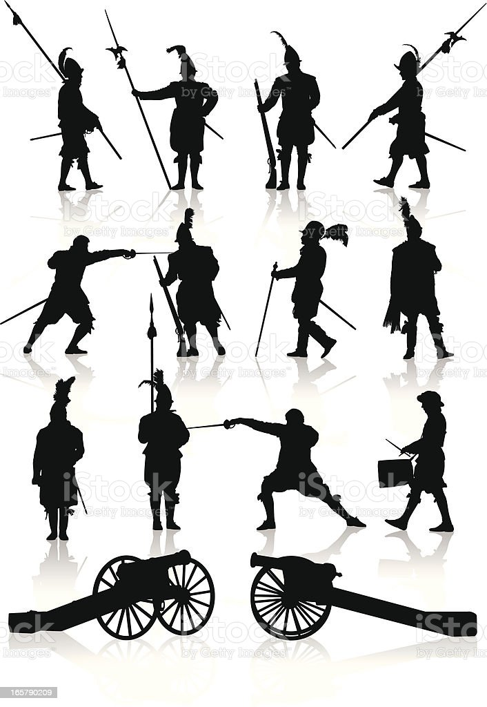 Silhouettes of soldiers and cannons of the Renaissance era royalty-free stock vector art
