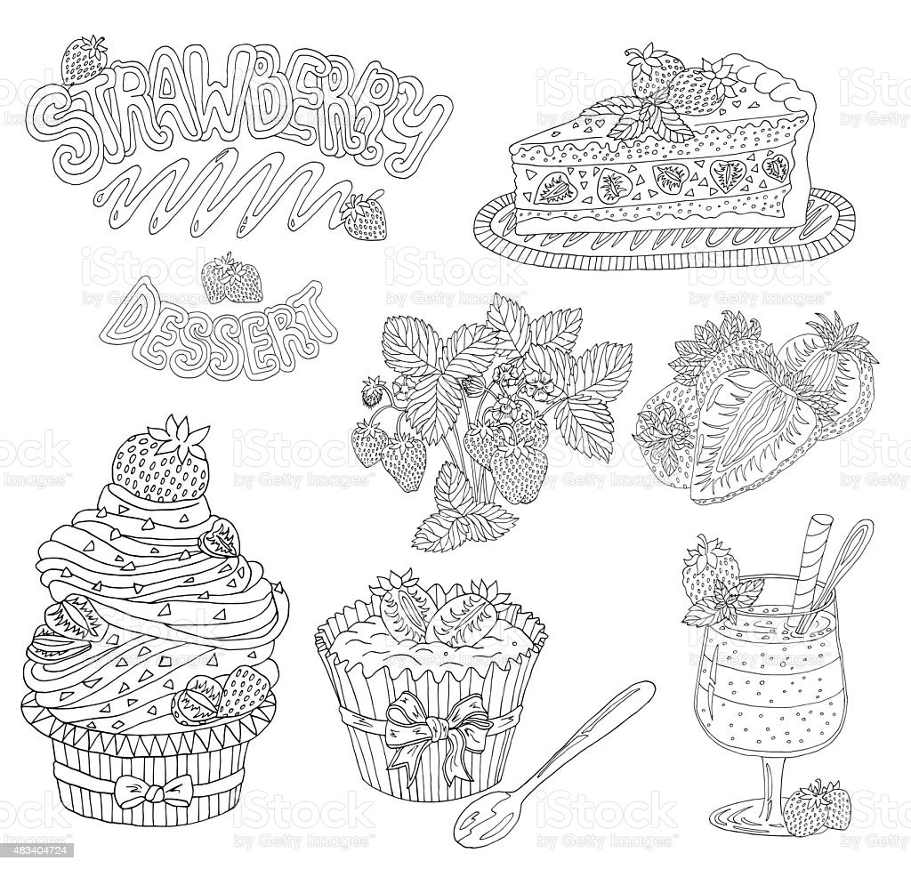 Silhouettes of strawberry berries and desserts vector art illustration