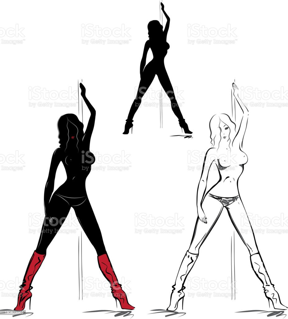 Silhouettes of striptease girl royalty-free stock vector art
