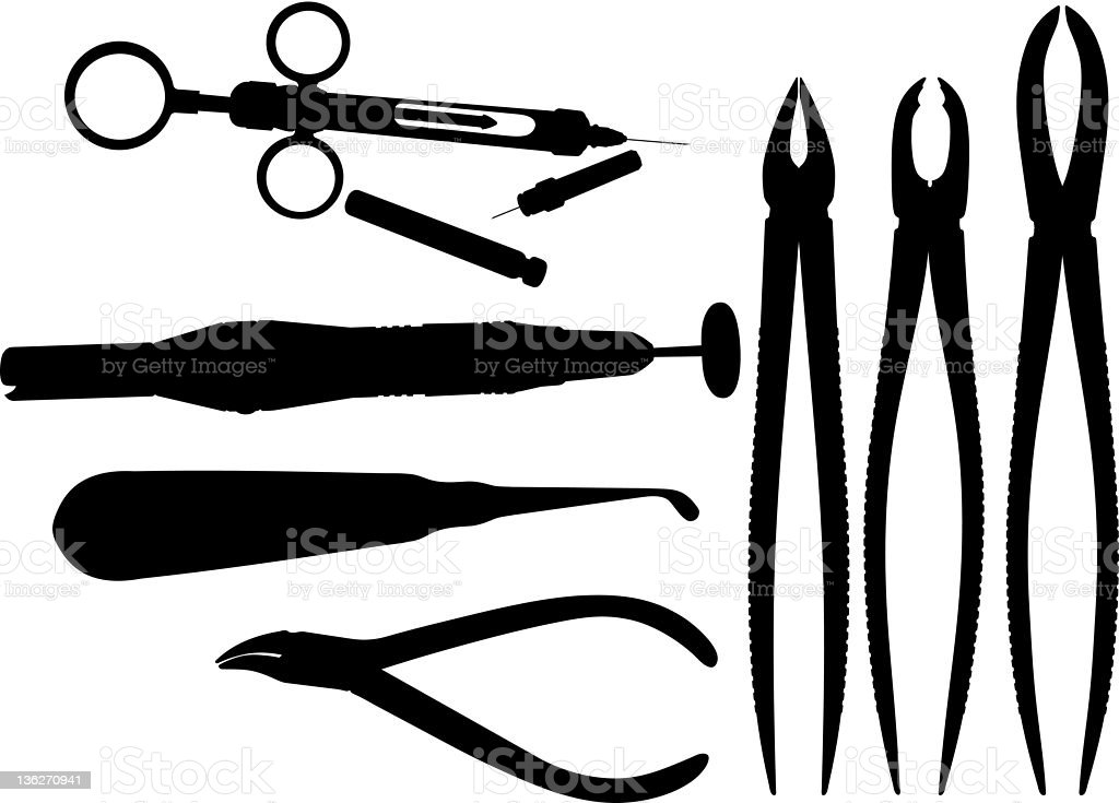 Silhouettes of surgical instruments royalty-free stock vector art