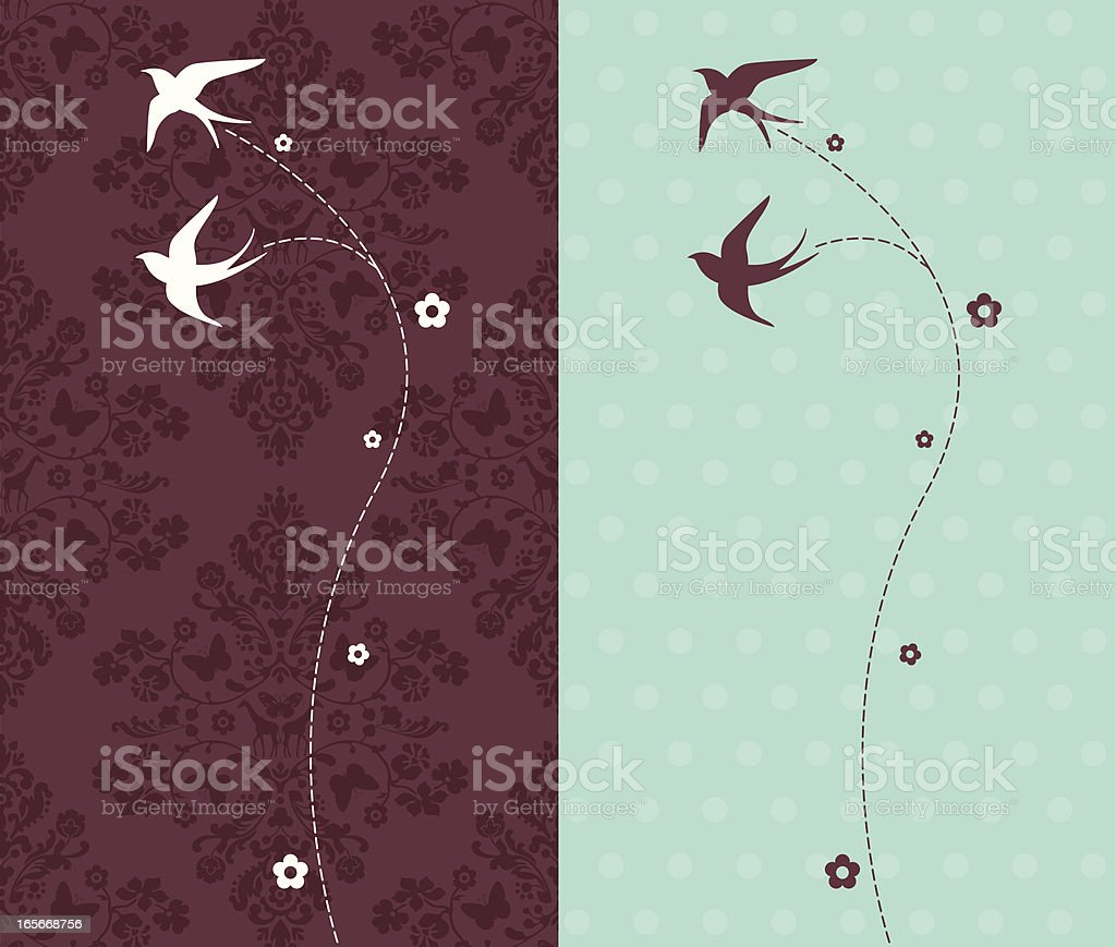 Silhouettes of Swallows Flying on Damask Background royalty-free stock vector art