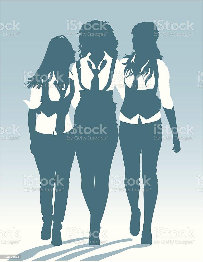 Silhouettes of teenage schoolgirls walking together royalty-free stock vector art