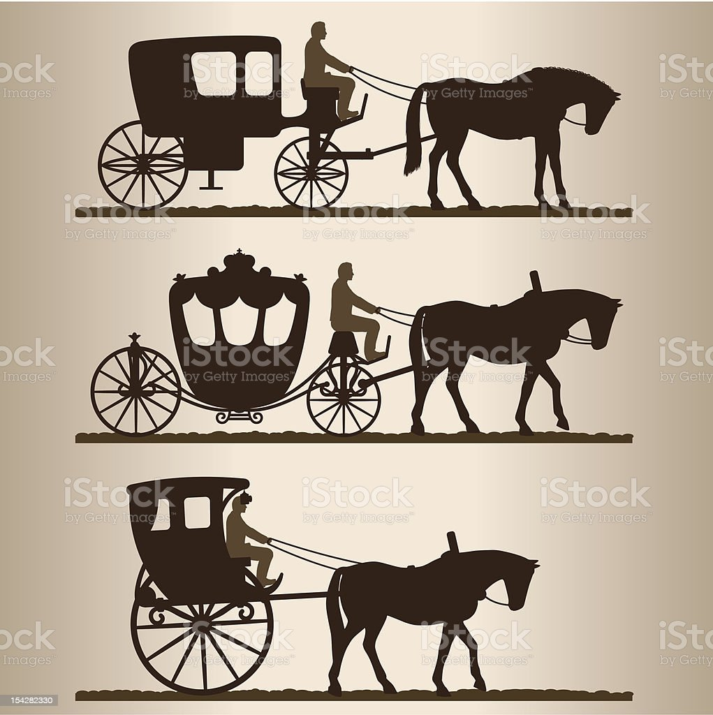 Silhouettes of the carriages vector art illustration
