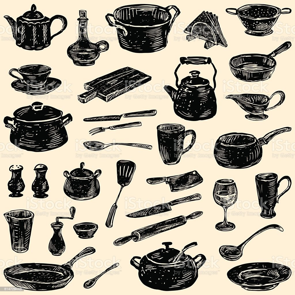 silhouettes of the kitchenware vector art illustration