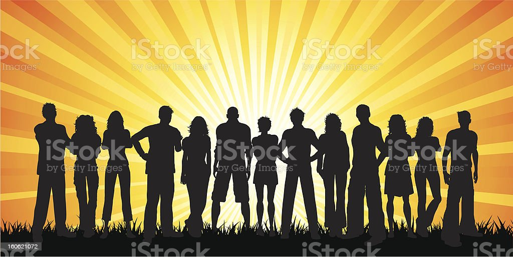 Silhouettes of thirteen people standing in a row vector art illustration