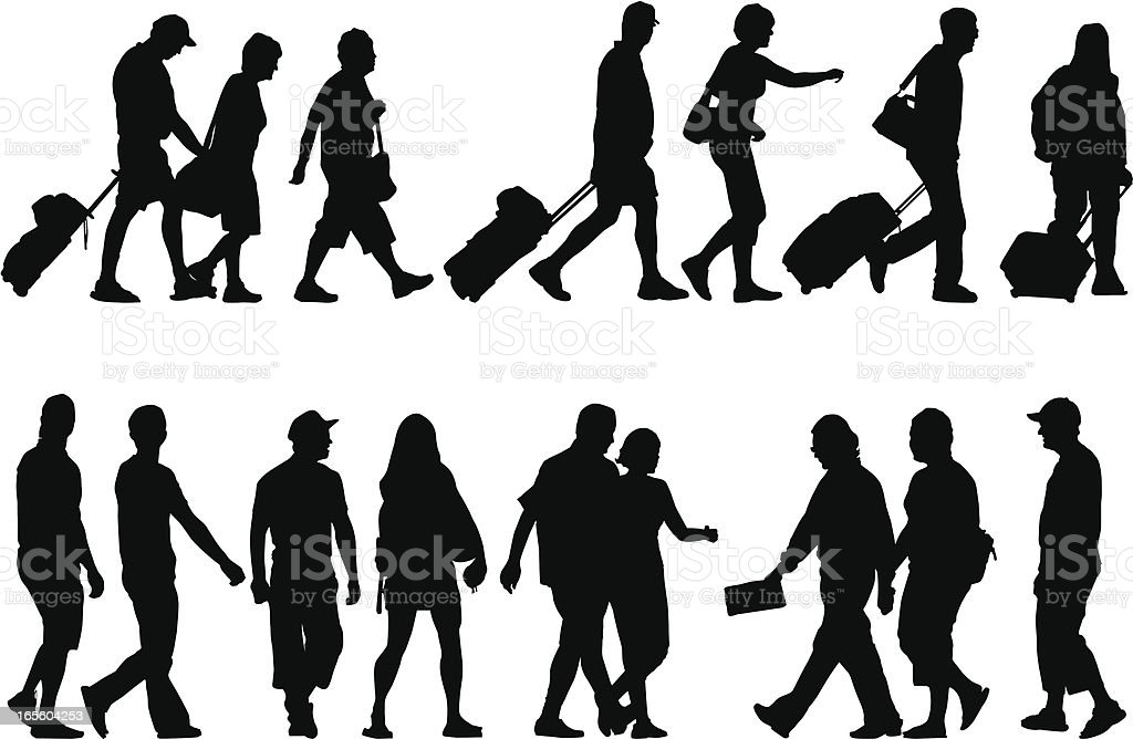 Silhouettes of tourists vector art illustration