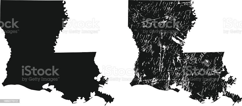 Silhouettes of two Louisiana maps vector art illustration