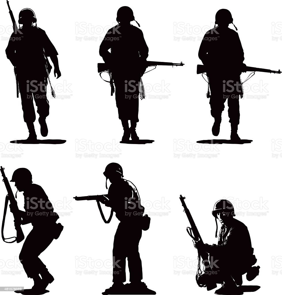 Silhouettes of USA Army Combat Soldiers vector art illustration